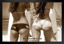 Bikini Beach Bums Sexy Surfers Framed Poster 18x12