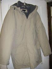 Mens Lands End Winter Parka Jacket Coat size medium tan detachable hood lined