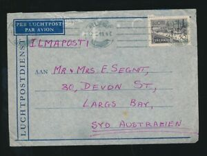 FINLAND to AUSTRALIA LARGS BAY AIRMAIL + LETTER 1949 to SEGNIT