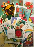 1960-80s Postcards posted Lot 50 pcs Vintage Picture Flowers set Greeting Cards