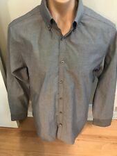PENQUIN Mens Size 17 34/35 Heritage Slim Fit Gray Long Sleeve Logo Shirt NWOT