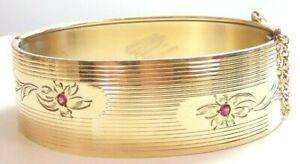 "Antique Art Deco Vintage Ruby Bracelet 14KY ID 2.37"" IC 7"" .756"" Width 29.4Grams"