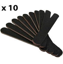 10 X BLACK STRAIGHT NAIL FILES DOUBLE SIDED 100/180 GRIT EMERY BOARD 180/100