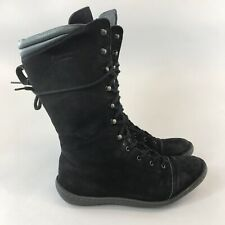 Unknow Size 41 UK8 Black Leather Nubuck Ankle Lace Up Boho Hippies Booties Boots