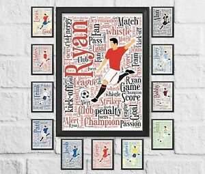 Personalised Football Gift Birthday present many Teams Available Word Art