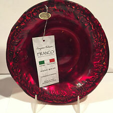 Franco Vetrerie E Cristallerie Unique Handcrafted Red Gold Art Glass Bowl Italy
