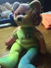 0814fe17e88 Ty Beanie Babies Peace Bear Tie Dye 1996 Retired PE Pellets Mint Condition  Plush