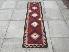 Kilim Vintage Traditional Hand Made Oriental Red Short Kilim Runner 194x60cm