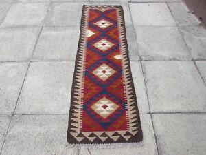 Kilim Vintage Traditional Hand Made Oriental Red Short Kilim Runner 194x60cm
