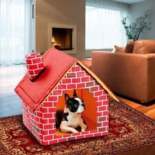 Portable Brick Wall Style Pet Dog House Indoor Warm Kennel Cat Bed Foldable