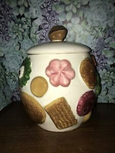 "Vintage Napco ""Cookies All Over"" Collector Cookie Jar w/Walnut Knob on Lid 1950s"
