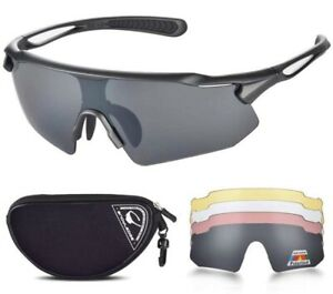 Snowledge Cycling Glasses TR90 Frame UV400 Protection, 5 Interchangeable Lenses