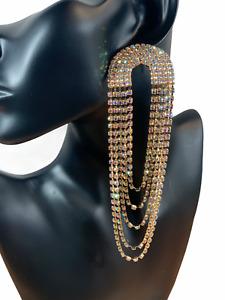 Glamorous Oversized Statement Diamante Rhinestone Tassel Earrings