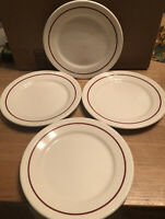 SET (4) Buffalo China Red Pin Stripe Restaurant Ware 9 inch Dinner Plates