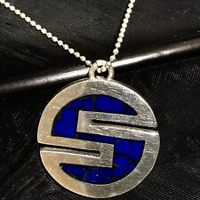 """Inlay S-Circle Pendant Necklace 18"""" Long Nice Estate Sterling Silver Blue Stone"""
