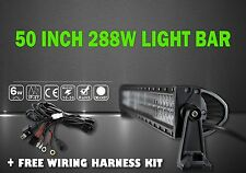 LED LIGHT BAR with Wire Harness Kit 50 Inch 288W Spot and Flood 4WD Truck 4x4