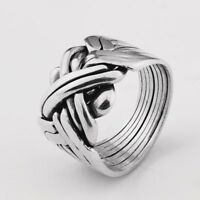 Puzzle Ring - 8 Bands Silver Sterling 925 - OXIDIZED - SUPER GIFT - Folding