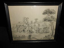 Antique Charcoal Drawing of Man and Wife Milking Cows Early 19th Century