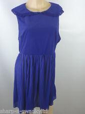 ☆ BNWT NEW LOOK Ladies Blue Pleated Trim Long Collared Vest Top UK 16 EU 44 ☆