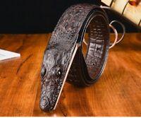 Men Belt Male Crocodile Head Genuine Leather Alligator Buckle Adjustable Strap