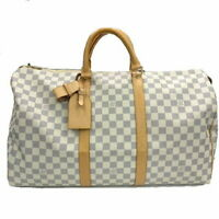 LOUIS VUITTON N41430 Damier Azur Keepall 50 Boston Hand Duffle Bag White Ex++