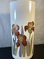 "Vintage Iris 9.5"" Ceramic Vase Japan Flowers Floral Otagiri White Red Orange"
