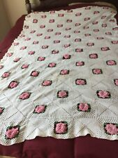 "Vintage Crochet Afghan Red Roses Bed Throw 49"" By 73""."