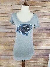 Women's Juniors Xs Victoria Secret Pink Grey Sequin Carolina Panthers Shirt...