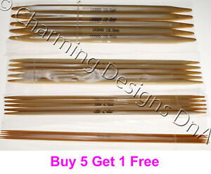 Set of 5 Bamboo Double Pointed Needles 10cm 13cm 15cm or 20cm - size 2mm to 12mm