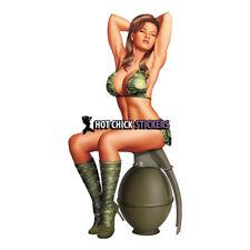 Sexy Military Pinup Grenade Girl Army USMC Bikini Vinyl Decal Hot Chick Sticker™