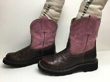 Vtg Womens Ariat 4Lr Fatbaby Cowboy Ostrich Skin Brown Boots Size 8 B