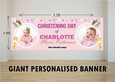 Personalised Giant Large Girls Pink Christening Day Animals Baptism Banner N24