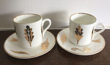Repeat Repeat Coffee Cups and Saucers (Gold Leaf Design) Contemporary China