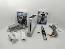 Nintendo Wii Console Bundle w/ Controller, Cords, 2 Games + 11 Downloaded Games