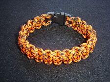 "New 550 ParaCord Survival Cobra Braided Bracelet Neon Orange Camo Colored 7 3/4"""