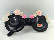 Vintage fashion Black frame with clay pink flower UV 400 handmade sunglasses