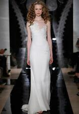 AUTHENTIC Reem Acra Alura 4916 Cream Chiffon Wedding Dress 8 RETURN POLICY