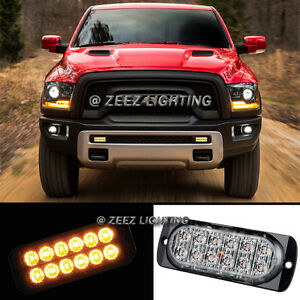 1X Yellow/Amber 12 LED Emergency Hazard Flash Strobe Beacon Warning Light Bar#04