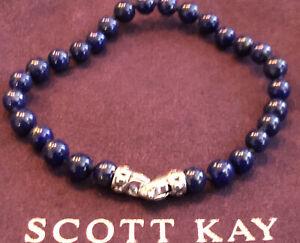 Scott Kay Mens 6mm Blue Lapis Bead Bracelet