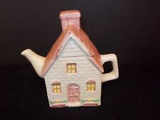 SMALL  PINK AND WHITE HOUSE SHAPED TEA POT , SUMMIT, 1990