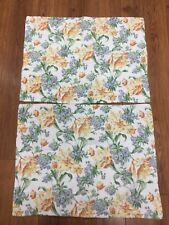 LAURA ASHLEY SHAMS SET OF 2 STANDARD QUILTED FLORAL STRIPE WHITE YELLOW BLUE