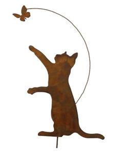 Gartenstecker Katze mit Schmetterling höhe ca. 55cm Rost Gartendeko Edelrost