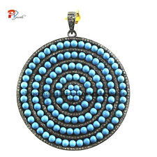 Christmas Sale 925 Sterling Silver Turquoise Gemstone Pave Diamond Round Pendant
