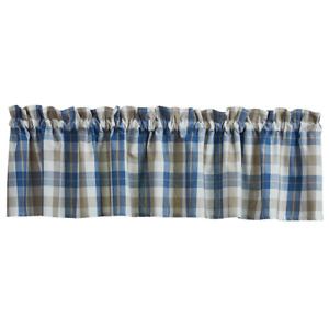 """Park Designs BINGHAM Unlined Window Valance 72""""x14"""" Blue, Taupe, Gold, White"""
