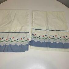 New listing Vintage Curtain set 2 panel's color white floral lace trim with blue cottage