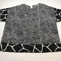 Chicos Zebra Animal Print Loose Fit Knit Top Size 3 A1006