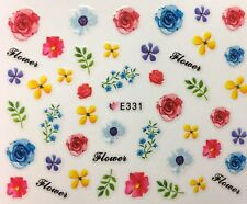 Nail Art 3D Decal Stickers Bright Vibrant Flowers E331