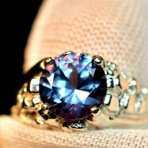 7.86 +CT MEN,S RING.RUSSIAN WELL TEST REAL LAB  ALEXANDRITE  COLOR CHANGE 12MM