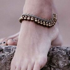 Lady Retro Bronze Anklet Chain Ankle Bracelet Barefoot Jewelry with Bells Beads