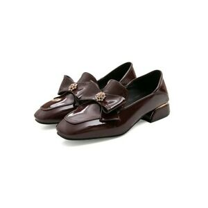New Women Round Toe Bowknot Slip On Loafers Oxfords Rhinestones Shoes Plus size